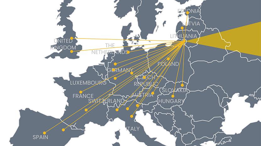 Pagrindinės dalinių  ir smulkių krovinių (LTL) pervežimo kryptys